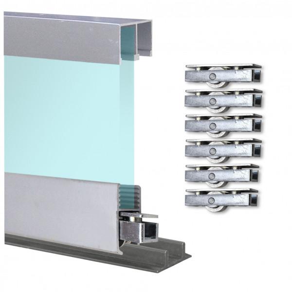 Doppelschiene 2,4m + Montageschiene + Laufrollen + Deckenführung