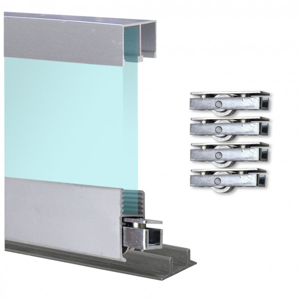 Doppelschiene 1,9m + Montageschiene + Laufrollen + Deckenführung