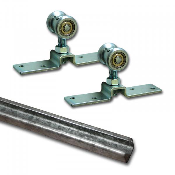 Laufschiene Stahl 2,5m + Beschlagset bis 55 kg