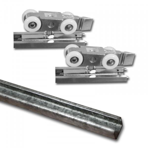 Laufschiene Stahl 2m + Beschlagset bis 100 kg