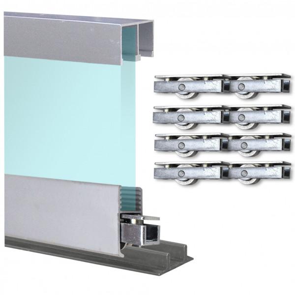 Doppelschiene 2,9m + Montageschiene + Laufrollen + Deckenführung