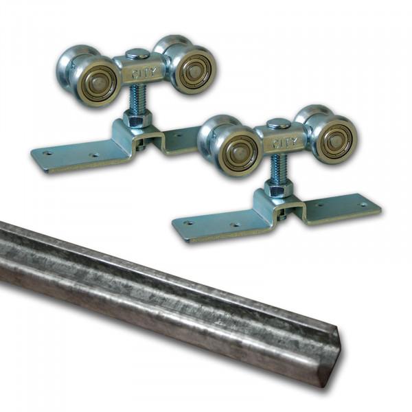 Laufschiene Stahl 2m + Beschlagset bis 90 kg