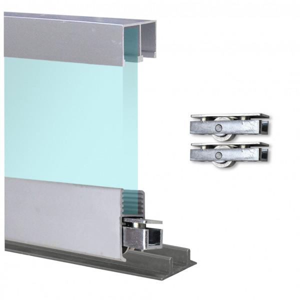 Doppelschiene 0,9m + Montageschiene + Laufrollen + Deckenführung