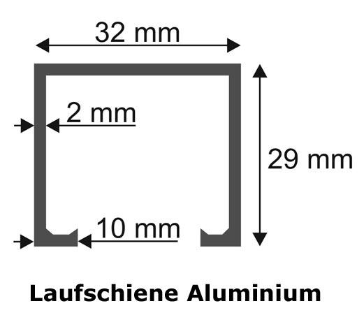 aluminium laufschiene 3m beschlag schiebet r schiene alu t r ebay. Black Bedroom Furniture Sets. Home Design Ideas